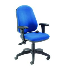 FR First High Back Posture Chair with Adjustable Arms Blue