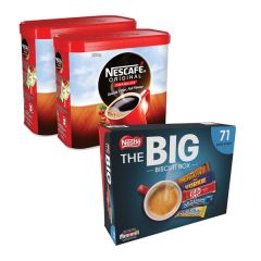 Nescafe Instant Coffee 750g (Pack of 2)+ FREE Nestle Biscuit Box