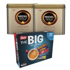 Nescafe Gold Blend Coffee 750g (Pack of 2) + FREE Nestle Big Biscuit Box