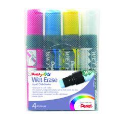 Pentel Liquid Chalk Marker Chisel Tip Jumbo Assorted Pk4