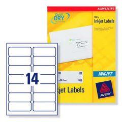 J8163 Avery Inkjet Labels 14 per Sheet - 100 Sheets