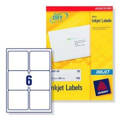 J8166 Avery Inkjet Labels 6 per Sheet