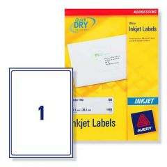 J8167 Avery Inkjet Labels 1 per Sheet - 100 Sheets