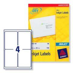 J8169 Avery Inkjet Labels 4 per Sheet