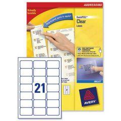 J8560 Clear Avery Inkjet Labels 21 per Sheet - 25 Sheets