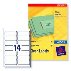 J8563 Clear Avery Inkjet Labels 14 per Sheet 25 sheets