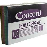 Concord Record Card 5x3 Inches Assorted Pk 100 16099/160