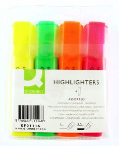 Q Connect Highlighter Pen Assorted Wallet of 4 KF01116