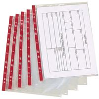 Punched Pocket A4 Deluxe Side-Opening Red Strip Pack 25