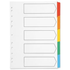 A4 Index 5 part Multicolour Board Clear Tabbed