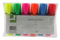 Q Connect Highlighter Pen Assorted Wallet of 6 KF01909