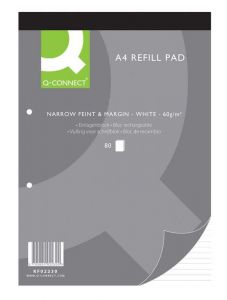 Q Connect Refill Pads A4 N/F Marg 80 Leaf Pack of 10