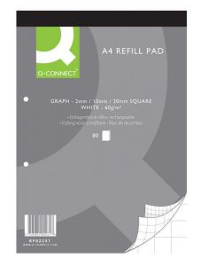 Q Connect Refill Pads A4 Graph 80 Leaf Pack of 10