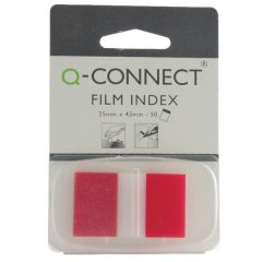 Transparent Page Markers Red 25mm Pack 50