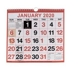 Wirebound Calendar 249x231mm 2020