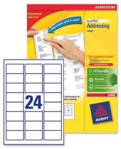 L7159 Avery Laser Labels 24 per Sheet - 100 Sheets