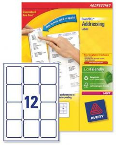 L7164 Avery Laser Labels 12 per Sheet - 100 Sheets