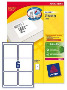 L7166 Avery Laser Labels 6 per Sheet 250 Sheets