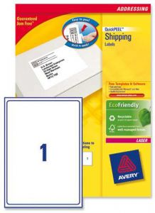 L7167 Avery Laser Labels 1 per Sheet - 100 Sheets