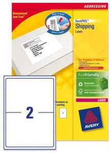 L7168 Avery Laser Labels 2 per Sheet 250 Sheets