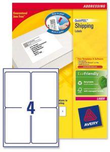 L7169 Avery Laser Labels 4 per Sheet 250 Sheets
