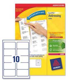 L7173 Avery Laser Labels 10 per Sheet 250 Sheets