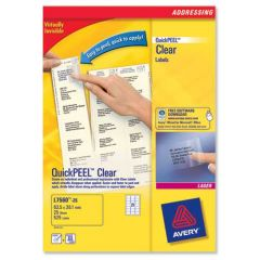 L7560 Clear Avery Laser Labels 21 per Sheet - 25 Sheets