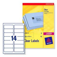 L7563 Clear Avery Laser Labels 14 per Sheet - 25 Sheets
