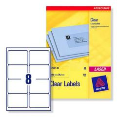 L7565 Clear Avery Laser Labels 8 per Sheet 25 Sheets