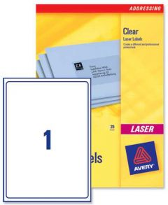 L7567 Clear Avery Laser Labels 1 per Sheet 25 Sheets