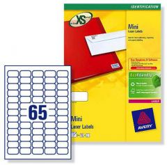L7651 Avery Laser Labels 65 per Sheet - 25 Sheets