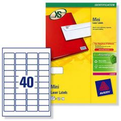 L7654 Avery Laser Labels 40 per Sheet - 25 Sheets