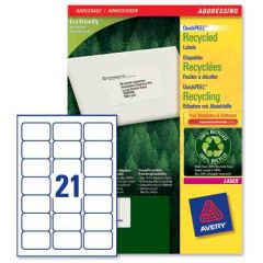 LR7160 Avery Recycled Laser Labels - 21 per Sheet 100 Sheets