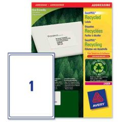 LR7167 Avery Recycled Labels 1 per Sheet - 100 Sheets