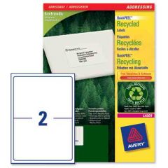 LR7168 Avery Recycled Labels 2 per Sheet - 100 Sheets