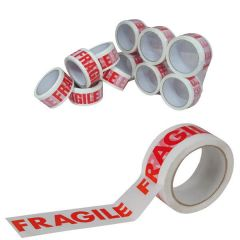 White/Red Polypropylene Fragile Printed Tape 50mmx66m (Pack of 6)