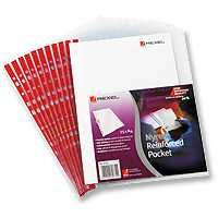 Rexel Nyrex Pocket PVC Open Side Clear Pack 25 Foolscap