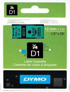 Dymo Tape Cartridge 45019 12mm Black on Green S0720590