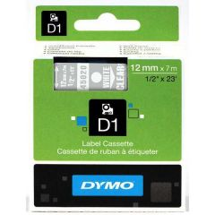 Dymo Tape Cartridge 45020 12mm White on Clear S0720600