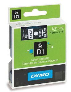 Dymo Tape Cartridge 45021 12mm White on Black S0720610