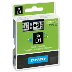Dymo Tape Cartridge 40910 9mm Black on Clear S0720670
