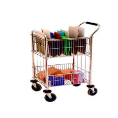 Mail Room Trolley With 2 Baskets Chrome
