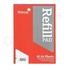 Silvine Refill Pad A4 80 Leaf Ruled Feint Pk 6