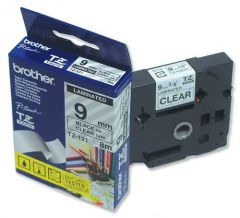 TZ121 Tape P-touch 9mm Black on Clear