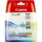 Canon Inkjet Cartridge Value Pk 9ml Cyan/Magenta/Yellow CLI-521CMY