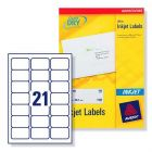 J8160 Avery Inkjet Labels 21 per Sheet - 100 Sheets